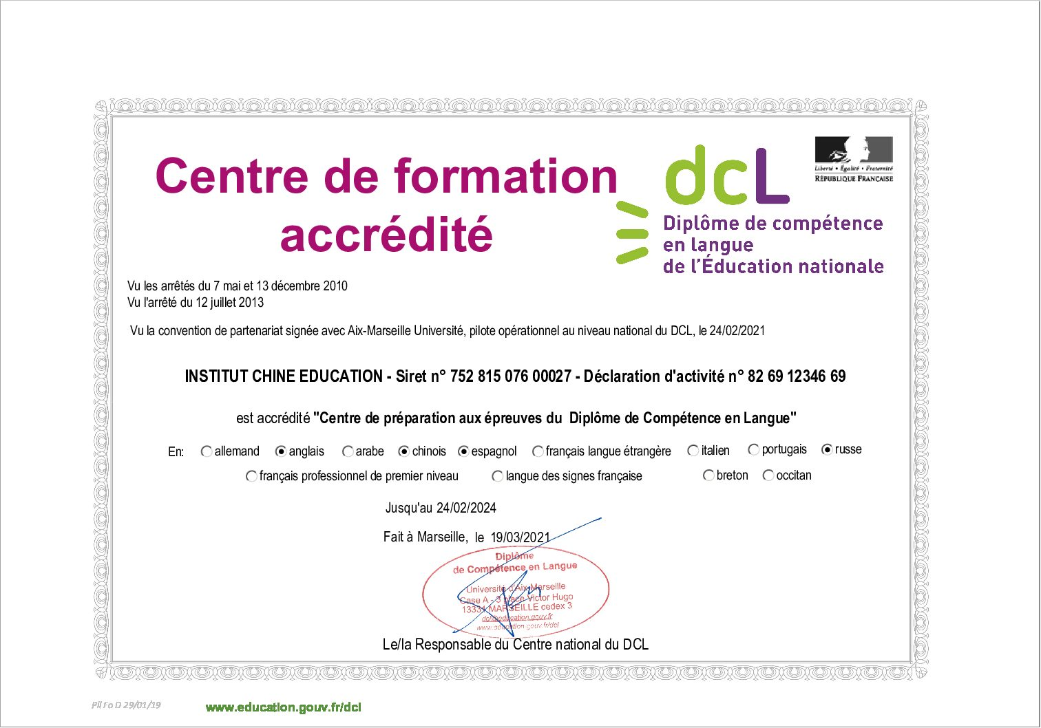 Attestation accreditation CNDCL D 290119 - INSTITUT CHINE EDUCATION 24.02.2024