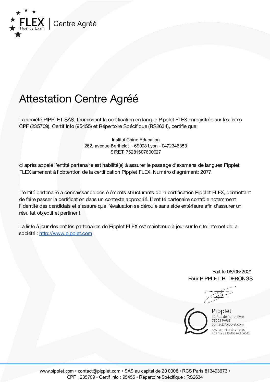Attestation partenaire Pipplet - Institut Chine Education Numéro d'agrément 2077