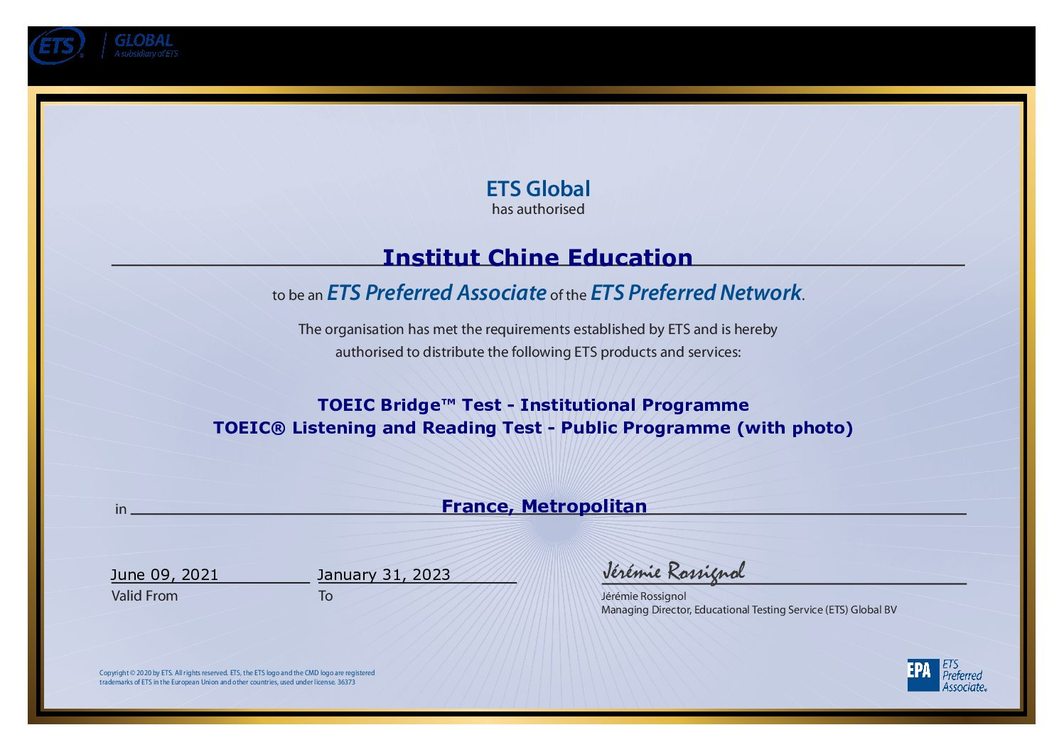 ETS Global - Certificate for EPA - 14122020 Institut Chine Education